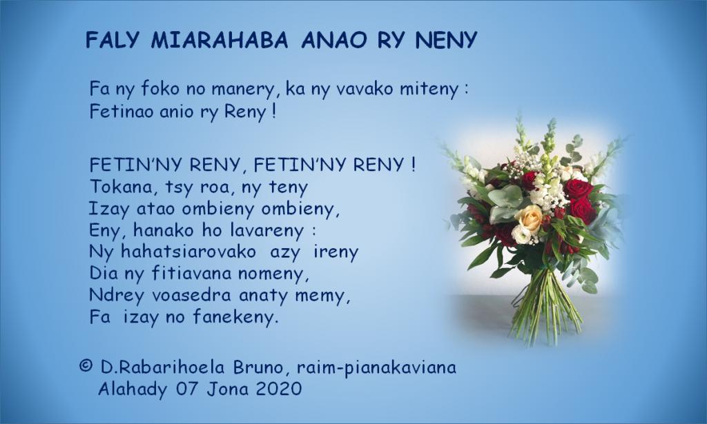 FALY MIARAHABA ANAO RY NENY